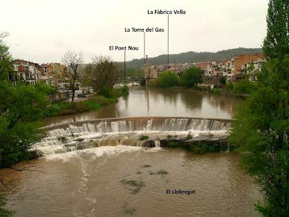 Panoràmica aigües amunt del Llobregat des del Pont Vell, on s'aprecia els saltants que han donat nom a Sallent