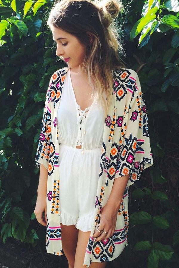 Off White Geometric Print Tunic Kimono