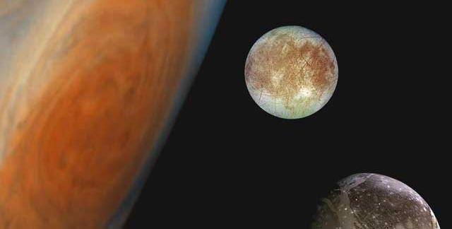 Montage showing Jupiter and its Great Red Spot and, from top to bottom, the moons Europa, Ganymede and Callisto. Image credit: NASA/JPL