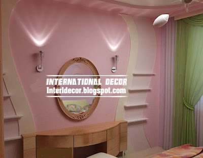 modern gypsum board wall decoration interior design with shade lamps for girls room