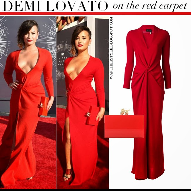 WHAT SHE WORE: Demi Lovato in red long sleeve gown at the MTV Video ...