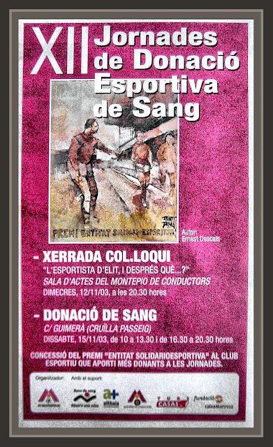 DONACIO DE SANG-CARTEL-PINTURA-DEPORTIVA-PINTOR-ERNEST DESCALS