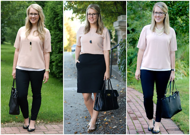 black, blush, and statement necklaces