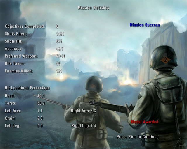 Medal of Honor: Allied Assault Mission Statistics
