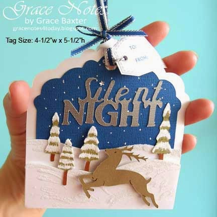 Silent Night gift tag showing size