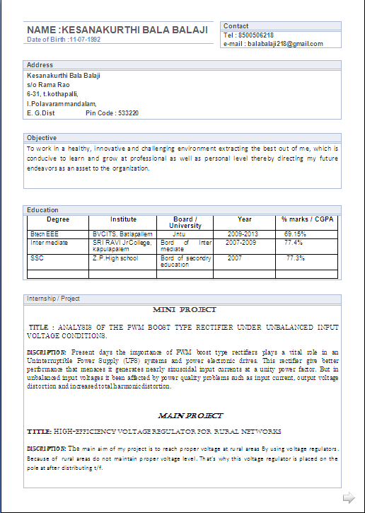 atractive resume format for a b tech eee fresher resume