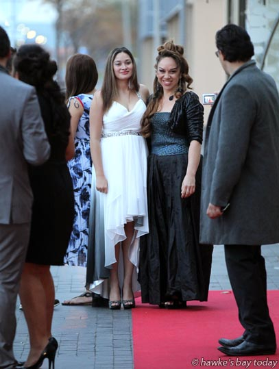 L-R: Maisey Rika, Toni Huata, red carpet entrance to the National Waiata Maori Music Awards, at the Hawke's Bay Opera House, Hastings photograph