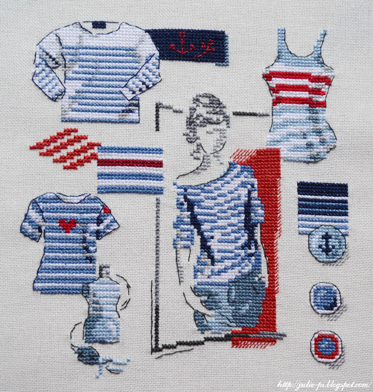 вышивка, вышивка крестом, морская тематика, тельняшка, текстильная корзинка с вышивкой, Veronique Enginger, Mode d'hier et d'aujourd'hui au point de Croix, Tendance mariniere, crossstitch, point de croix
