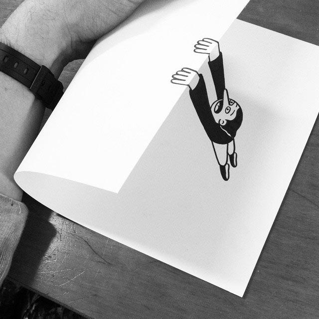 Simples pliegues de papel crean fantásticas ilusiones de dibujos cobrando vida