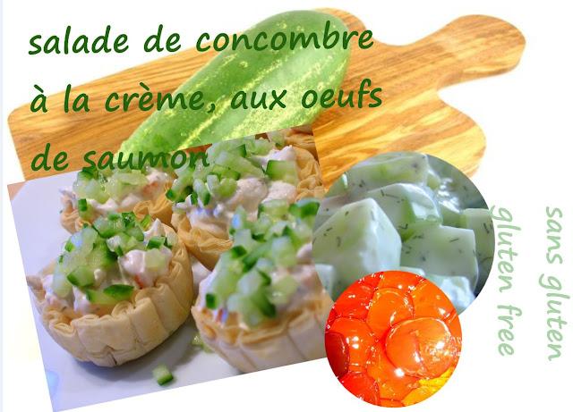 entrée au concombre à la crème, oeufs de saumon, ciboulette