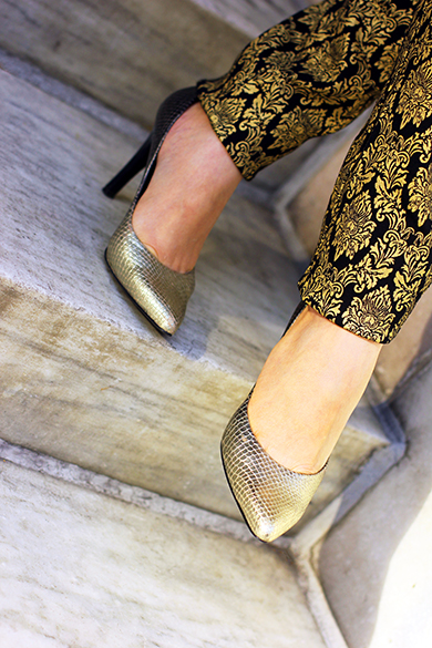 Gold Snakeskin Pumps