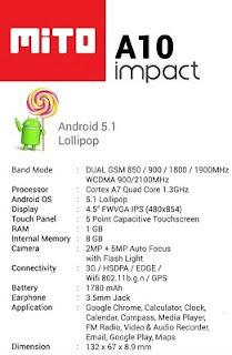Spesifikasi Mito Impact A10 Android One