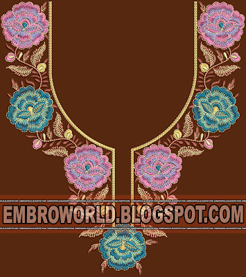 Fashion Bridal Gold Zari Necklace Yoke embro design