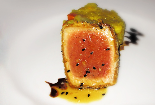 seared tuna in ginger and panko crust