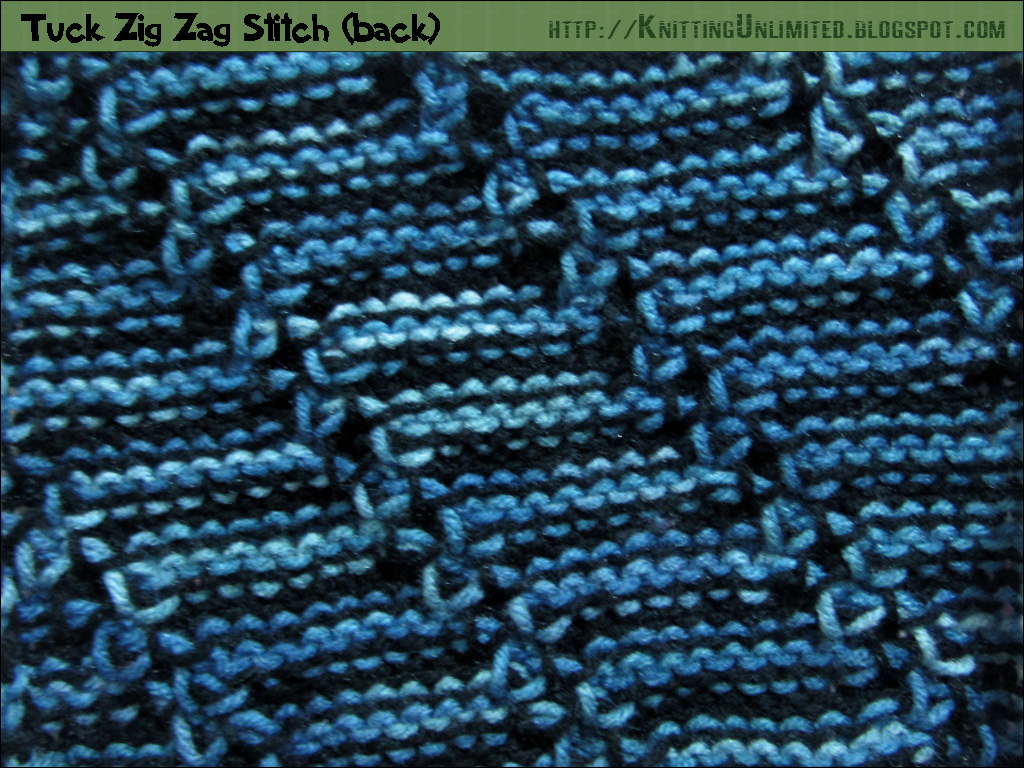 Knitting Yrn P2tog : Tuck zig zag stitch