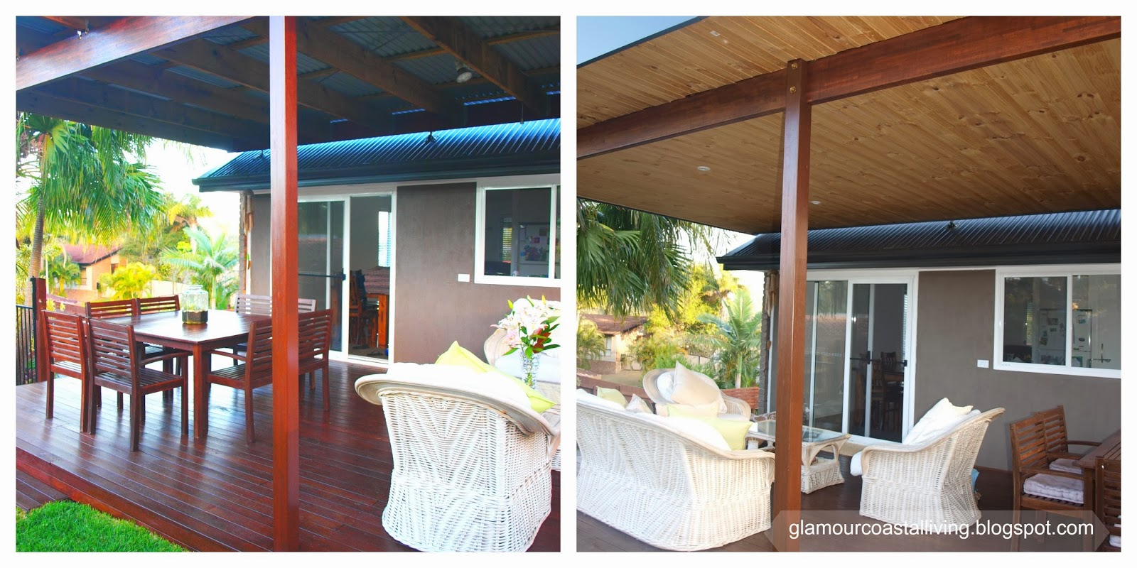 Wooden Cladding Before And After ~ Glamour coastal living after photos of the backyard
