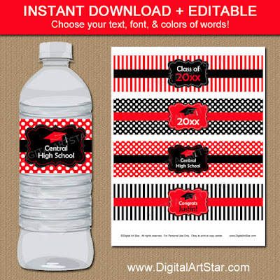 Red & Black Graduation Drink Labels