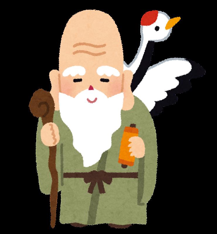 福禄寿のイラスト(七福神) 鶴を連れ長い頭とヒゲが特徴的な七福神の一人、福禄寿のイラストです。