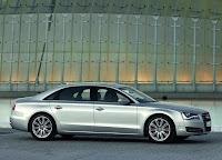 Silver Audi A8 L side view