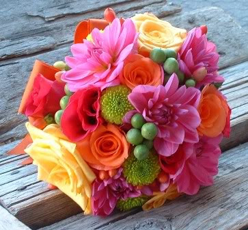 hot pink dahlia bouquet