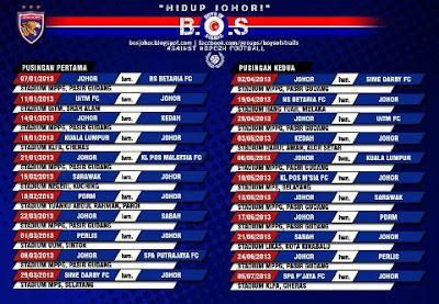 Johor FA- Jadual Perlawanan musim 2013