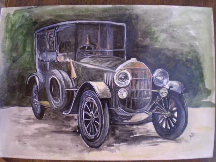 mercedes benz, old, acrylic, hand painted, signed Joli, A4