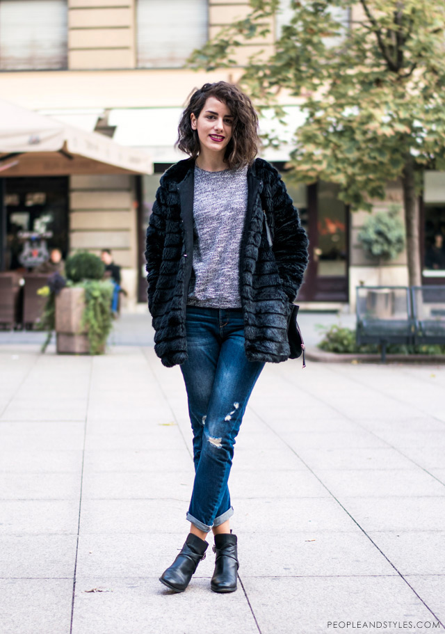 casual daily style black faux fur jacket and boyfriend jeans, Karla Torbarina, street style Zagreb Croatia