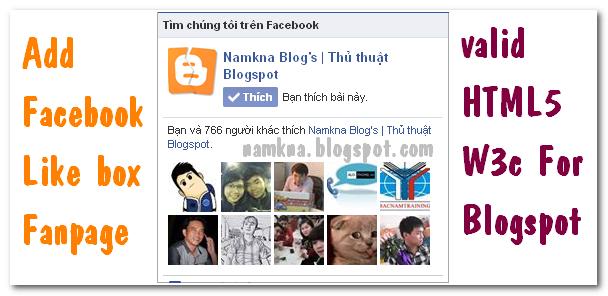 Tạo Facebook Like Box chuẩn HTML5 cho blogspot