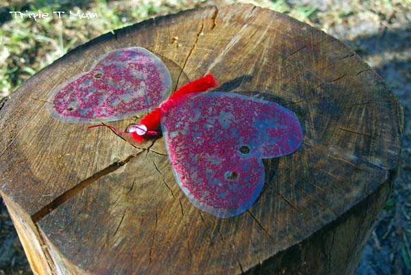 Glittery Gelatin Heart Butterfly for Valentine's Day