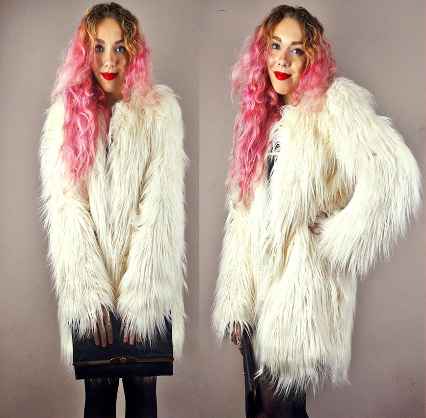 Long Tall Sally, long hair white fur coat, pink hair, stephi lareine, uk fashion lifestyle bloger, black primark clutch, jordan dunn range