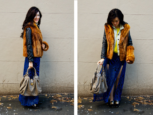 Vintage DIY fur vest and fur muff outfit, blue maxi skirt, leather sleeve and denim jacket, yellow sweater, LV purse, Margiela tights, ferragamo vintage loafers, fashion, style