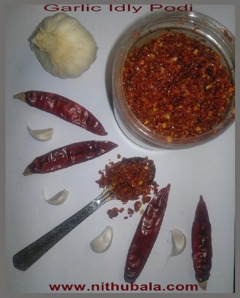 garlic chutney powder / garlic idly podi / poondu podi