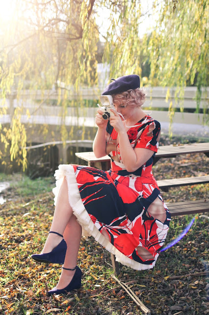 @lianasmooz of Finding Femme with mini Diana lomography camera, navy beret, navy suede Modcloth heels and Megan dress by @karinadresses
