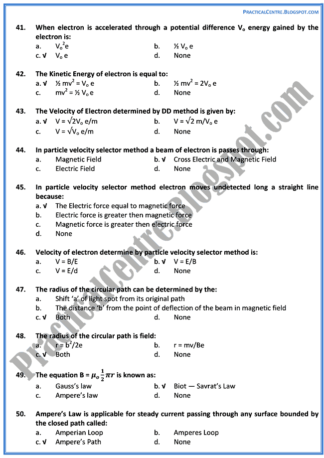 magnetism-and-electromagnetism-Mcqs-Physics-12th