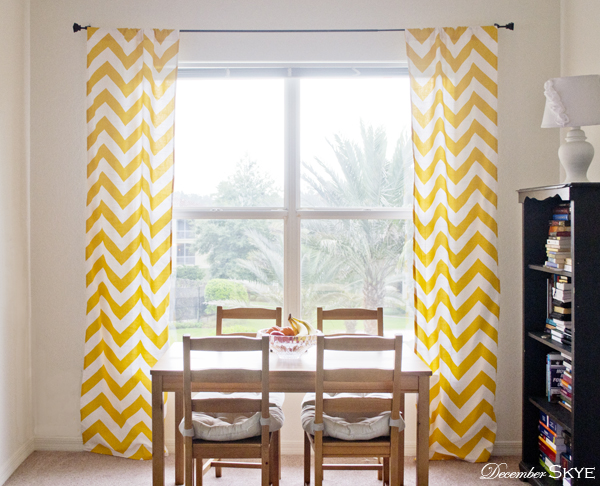 yellowstripecurtains2 Chevron curtains,puppy love,& Terrie Smiling:)