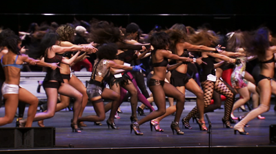 Michael Jackson's – This is it - Auditions for the group of dancers for the show. Girls dancing in unison.