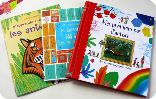 """""""J'apprends à dessiner : Les animaux"""", """"Je dessine pas à pas : Les personnages"""" et """"Mes premiers pas d'artiste"""" - éditions Usborne"""