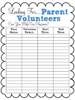 Spark of Inspiration: Back to School Freebie: Parent Volunteer ...