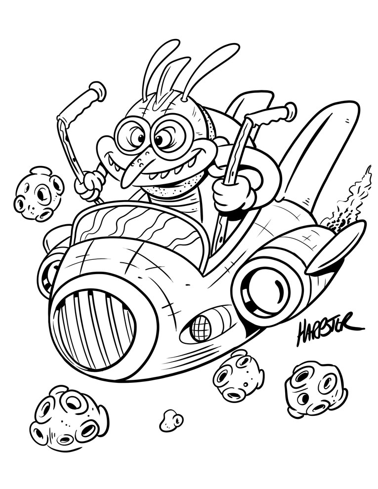 Harptoons: FREE Space Alien Coloring Pages!