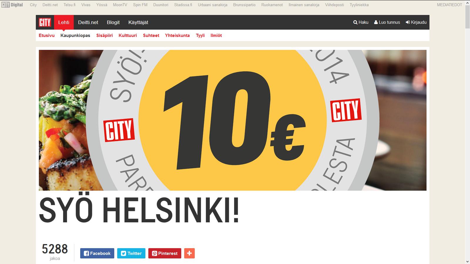 Syö Helsinki website