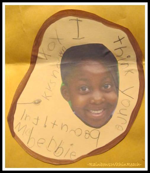 photo of: Kinder Writing on Giraffe Thank You Card via RainbowsWithinReach