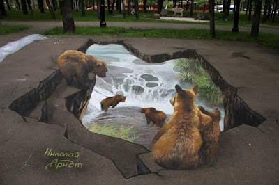 Lukisan 3D di Jalan Raya yang Mengagumkan