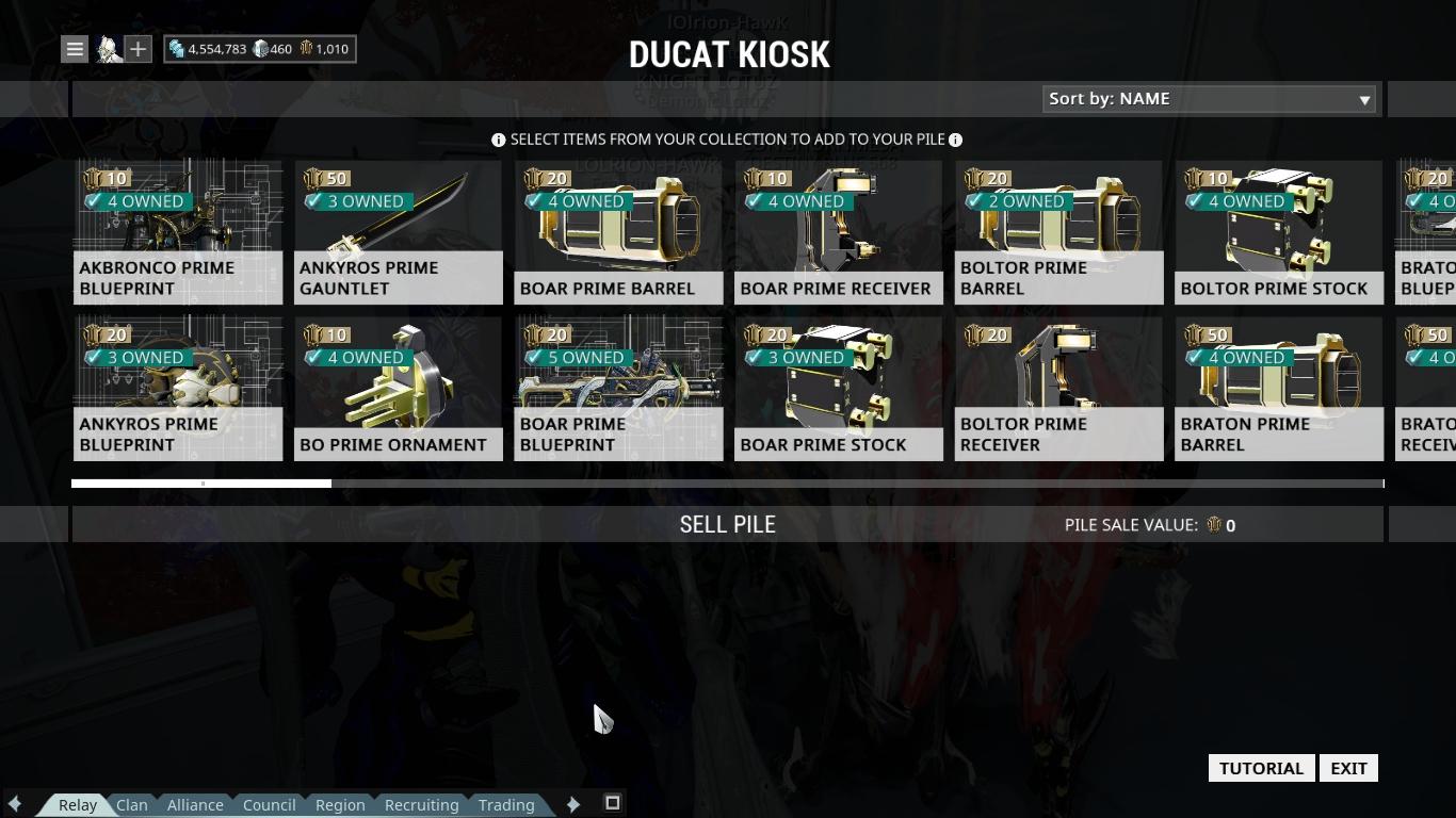 Trading system warframe