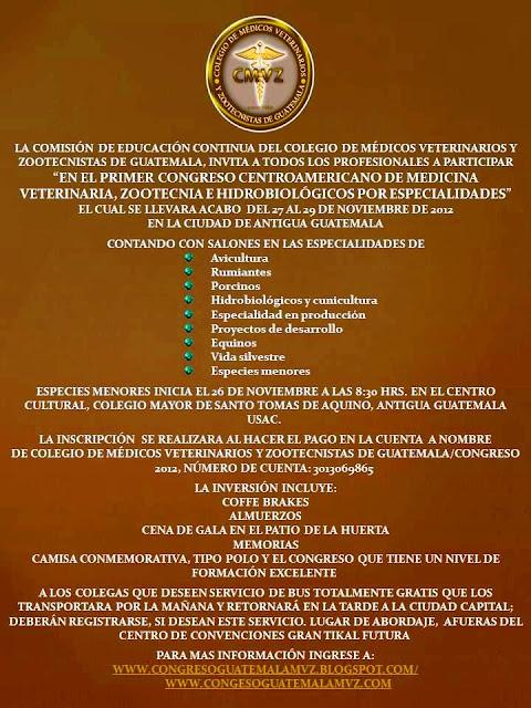 1er. Congreso Centroamericano de Medicina Veterinaria, Zootecnia e Hidrobiológicos