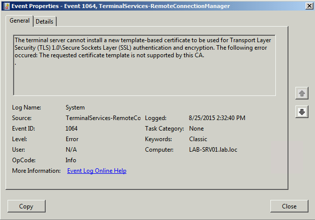 The following error occurred the requested certificate template is error event 1064 the requested template is not supported by operativo windows server 2008 r2 el yadclub Choice Image
