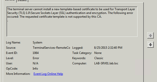 The following error occurred the requested certificate template is error event 1064 the requested template is not supported by no certificate yelopaper Choice Image