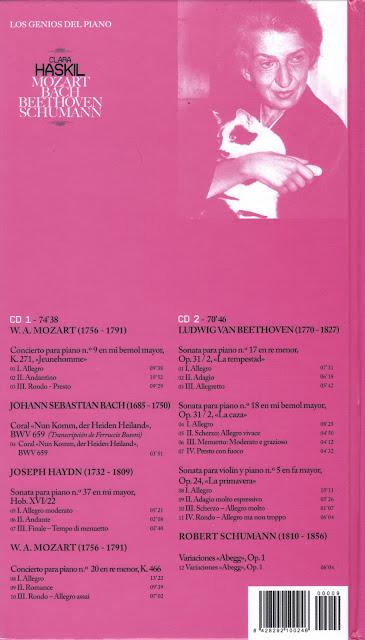 Imagen de Colección Los Genios del Piano-09-Clara Haskil & Mozart, Bach, Beethoven y Schumann-trasera