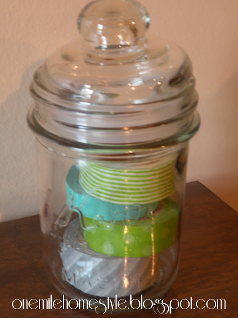 Washi tape in a mason jar