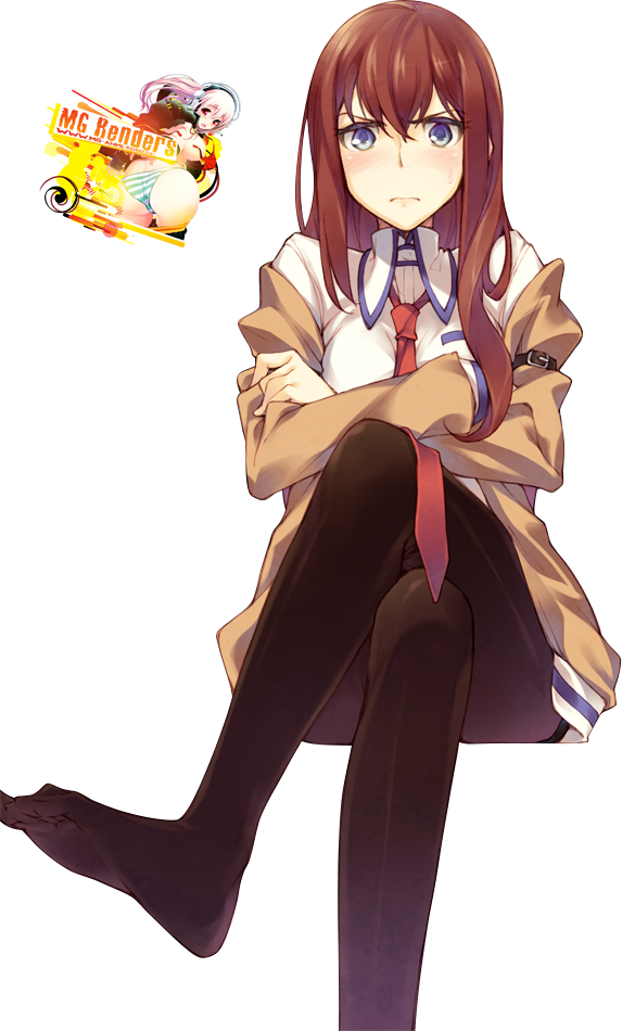 Tags: Anime, Render,  Crossed Legs,  Feet,  Makise Kurisu,  Steins;Gate, PNG, Image, Picture