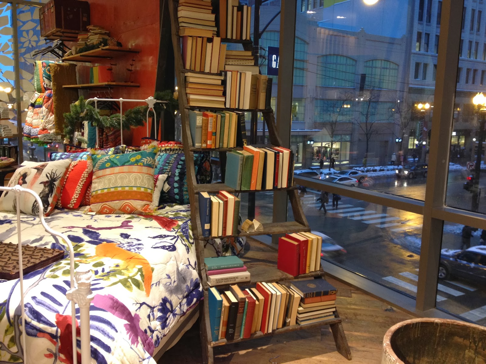 books & bedspreads at Anthro